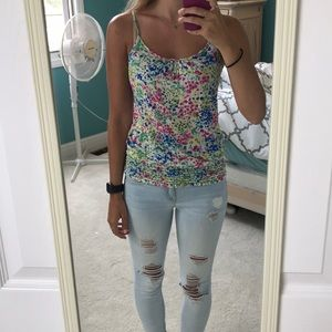 Forever 21 floral tank with scrunched bottom